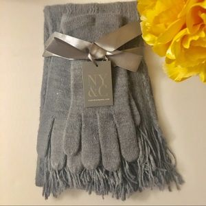 Scarf and gloves set, Grey, Knit, Soft